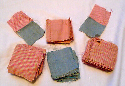 """Lot of Antique 3"""" quilt squares / 200+ / pink and blue"""