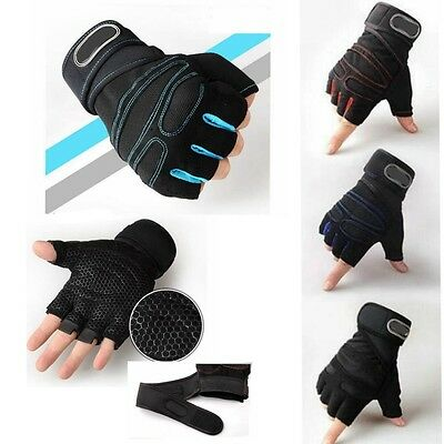 Weight Lifting Gym Gloves Training Fitness Wrist Wrap Workout Exercise Sports NW
