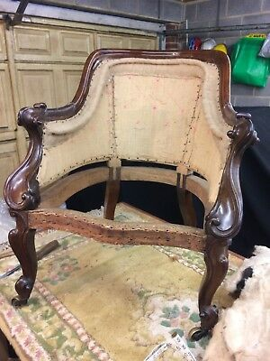Antique Upholstered Victorian Button Back Armchair Chair Rosewood frame