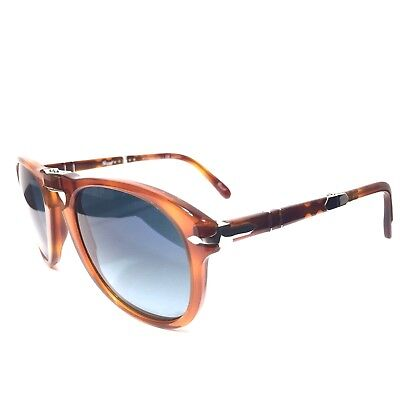8f59c6012f PERSOL 714 Steve McQueen 96 S3 52mm Brown Blue Polarized Sunglasses (MSRP   480)
