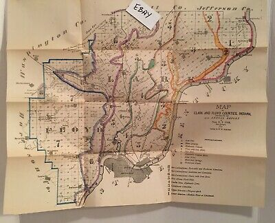 1873 Prof Cox Geologist Borden Indiana Clark and Floyd Counties Hand Color Map