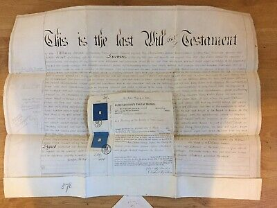 Last Will and Testament Vellum 1864 William Swain