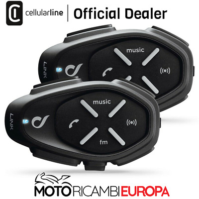 KIT link twin pack Interphone Cellularline Interfono moto casco scooter bluetoot