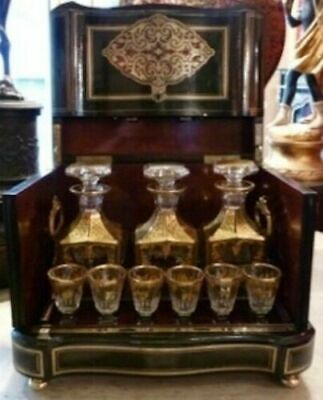 Antique French Tantalus Box With Baccarat Crystal Cordial Decanter Set