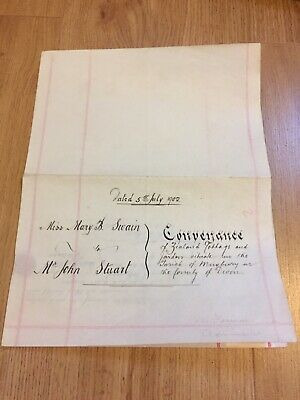 Antique Vellum 1902 Hand Writing , with Wax Seal..