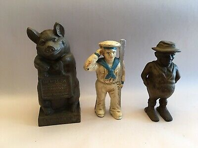 Antique Cast Iron Still Bank Lot Soldier Farmer The Wise Pig Thrifty