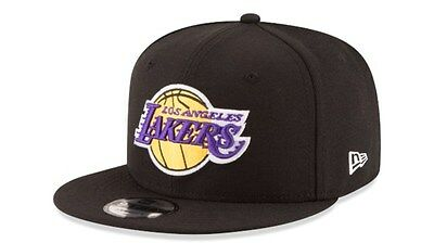 official photos a74f8 58a0a Los Angeles Lakers LA New Era 9FIFTY NBA Black Adjustable Snap Snapback Hat  Cap