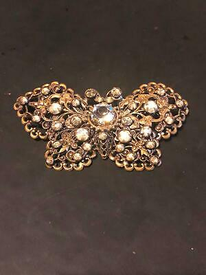 Vintage Antique Czech Butterfly Pin Brooch Paste Stones Filigree