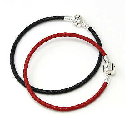 New Authentic Pandora Charms Red Black Braided Leather Wrap Charm Beads Bracelet