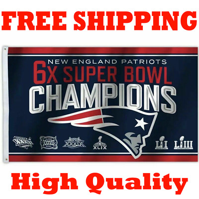 New England Patriots 6x Times Super Bowl 53 Champions Flag Banner 2018 2019 3x5