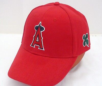 d350fd686a2 MLB LA Anaheim ANGELS RED BASEBALL CAP - Clover St Paddy s Day - NEW Hat -