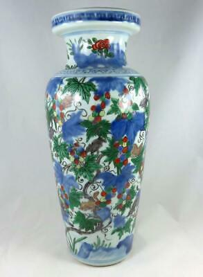 Large Antique Chinese 17th Century Wanli Wucai Squirrel Grape Rouleau Vase Ming