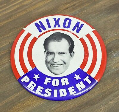 1968 Nixon For President Political Campaign Pin Button 6""
