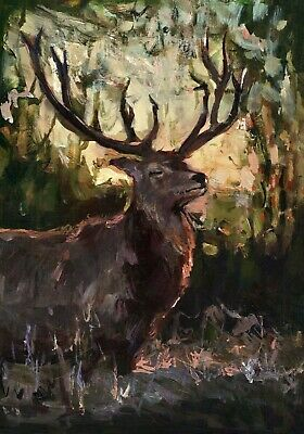 Deer Fawn in the wood  ORIGINAL painting ART Landscape Wild Nature