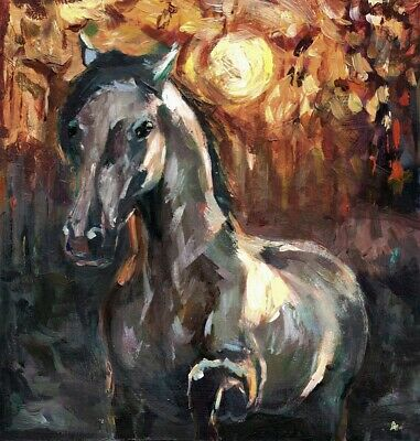 White Horse ART ORiginal Painting Landscape Sunset Nature (signed by artist)