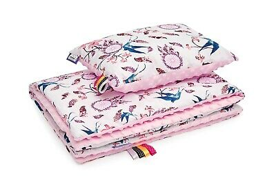 Minky,Baby Blanket and Pillow 75cm x 100cm / 30cm x 40cm Pink-Swallow