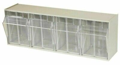 TiltView Cabinet 4-Compartment 25 lb. Capacity Small Parts Organizer Storage Bin