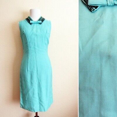 Vintage 50s Blue Knit Beaded Collar Wiggle Pin Up Cocktail Dress S
