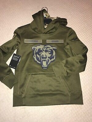 d50fe7475 YOUTH NIKE SALUTE To Service NFL Chicago Bears Hoodie Green SMALL ...