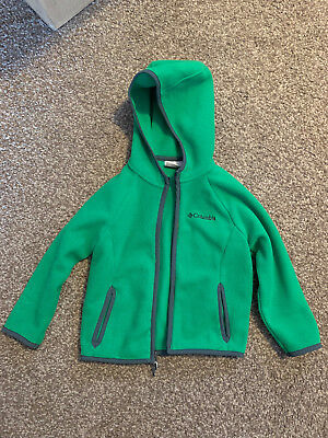 Columbia Kids Toddler Fast Trek Hoodie Fleece Sweatshirt ZipUp Green Jacket Coat