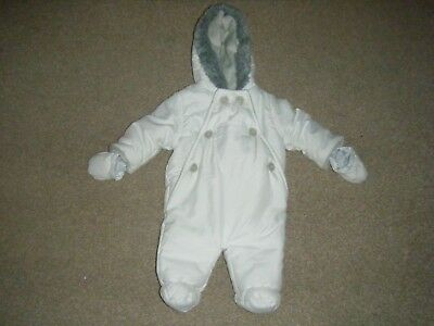 Babies Ivory and Grey Hooded Snow Suit Age 0-3 Months from John Lewis Baby