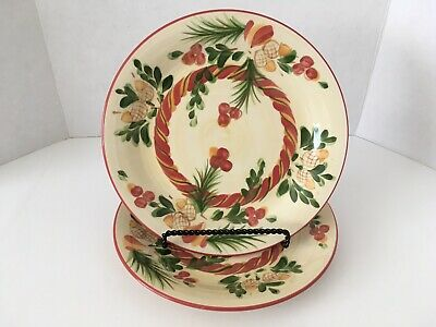 Southern Living At Home Gail Pittman Sienna Acorn Christmas Dinner Plates 10.5""