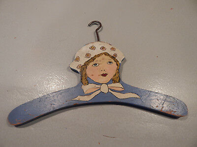 Antique Wood Childs Clothes Hanger- Detailed Painting of Girl