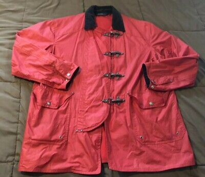 5dfc63b4 Vtg Polo Ralph Lauren Red Fireman Jacket Metal Toggle Clasps Polo Sport  Patch