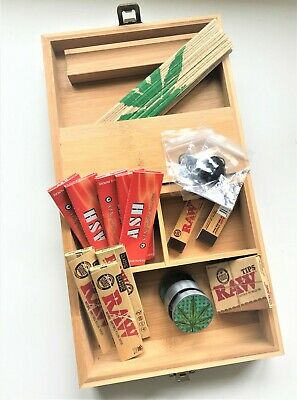 Gift Set Large Wooden Smoking Smokers Rolling Box Bamboo With Raw Paper Grinder