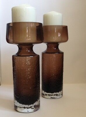 A Pair Of Riihimaki Riihimaen 'carmen' Glass Candlesticks Design Tamara Aladin Art Glass