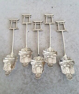 NICE SET 5 CHINESE ANTIQUE SOLID SILVER BUDDHA BOWL TEA SPOONS.   S.M    c.1910.