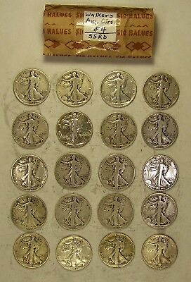 Roll(s) of 20 Mixed Date Walking Liberty Silver Half Dollars, Avg Circ Condition