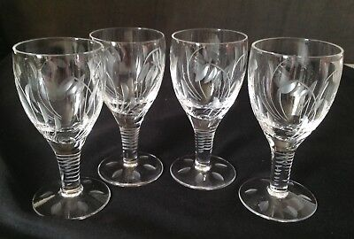 4 Stuart Crystal Sherry Glasses Hand Cut Quality in the Elgin Pattern