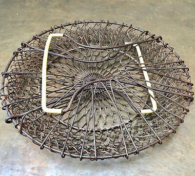 Vintage French Collapsible Metal Wirework Egg Basket With Fold Out Top, Kitchen