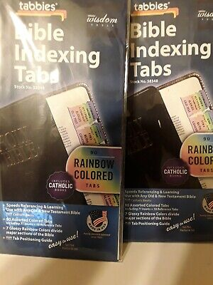 2x BIBLE INDEXING TABS Old & New Testaments + Catholic Books RAINBOW Tabbies
