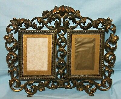 Vintage/Antique Ornate Brass/Gold Metal Double Frame Easel Back Victorian
