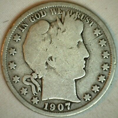 1907 D Silver Barber Half Dollar US Type Coin Fifty Cents 50c Good K