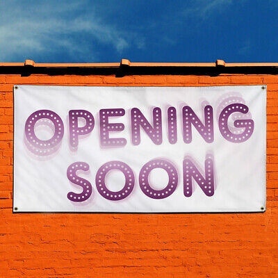 Vinyl Banner Sign Opening Soon #1 Business Outdoor Marketing Advertising White
