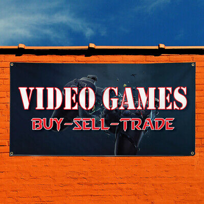 2/'X5/' VIDEO GAMES BANNER Sign Buy Sell Trade Console Systems Pawn Xbox NES N64
