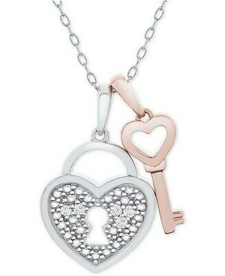"💝NIB 💎Diamond💎Heart Lock & Key 18"" Necklace Sterling Silver 14k Rose Gold"