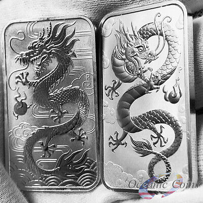 Lot of 2 2018 & 2019 1oz Australian Perth Mint Silver Dragon Bar .9999 Fine