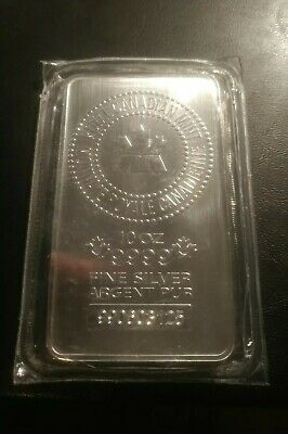 Royal Canadian Mint, (RCM) 10 Once Bar, .9999 Pure Silver.