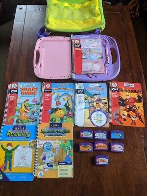Leap Frog Leap Pad Learning System Lot of 7 Books & Game Cartridges Backpack EUC