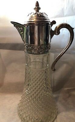 Decanter Diamond Cut Style Glass Pitcher Silver Plated Handle Italy Water Jug