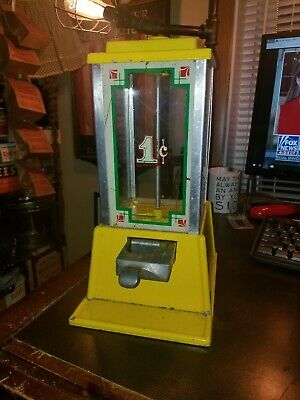 """Vintage Dean Penny Yellow Gumball Vending Machine 12"""" tall, NO KEY"""