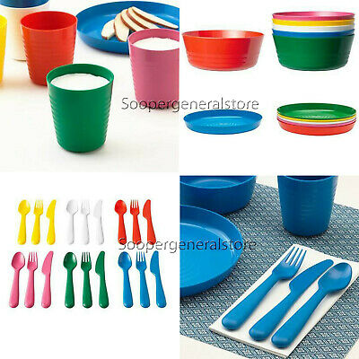 Ikea Kalas Kids Cutlery Set Plastic Knive Fork Spoons Plates Bowl Mugs Cups 36Pc