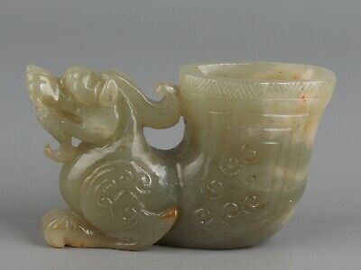 Chinese Exquisite Hand carved mythology beast Carving Hetian jade cup
