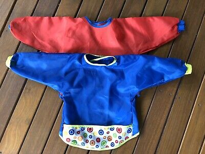 IKEA Kladd Prickar Toddler Paint Smocks x 2 Red And Blue