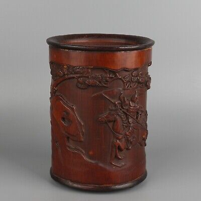 Chinese Exquisite Hand carved Horse figures pattern bamboo Brush pot