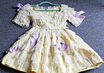 Vintage Hand Made Ruffles Lace & Bows Dress